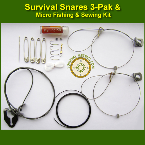 Thompson Survival Snares 3 Pak and Micro Fishing / Sewing Kit (SK-2 ...