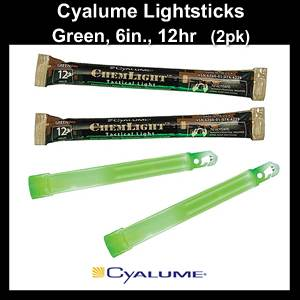 Cyalume Chemlights Lightsticks Green 6in, 12hr. (SM9-42290)
