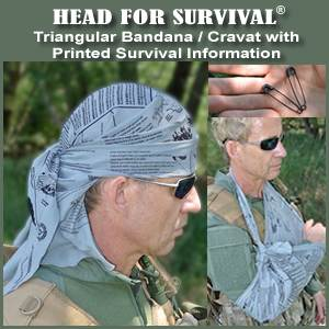 Head for Survival ® TACTICAL Triangular Bandana / Cravat with Printed Survival Information  (HFSTactical)
