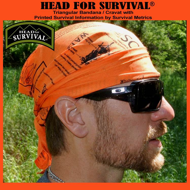 Head for Survival ®  ORANGE Triangular Bandana / Cravat with Printed Survival Information (HFSOrange)
