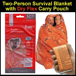 SOL Heatsheet Two Person Survival Blanket - Dry Flex Pouch (SM0140-07012p)