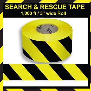 Search & Rescue Tape - 1,000 ft. Roll- Yellow/Black (SMCRL83)