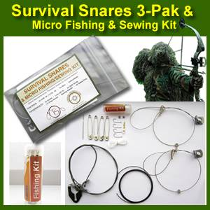 Thompson survival snares 3 pak and micro fishing sewing for Survival fishing kit