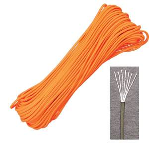 Marbles Outdoors Genuine 550 Parachute Cord 7-Strand - 100 ft- Neon Orange (SMRG105H)