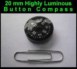 Survival Button Compass - Grade AA 20mm - Highly Luminous (button-compass)