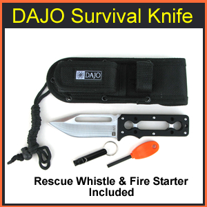 DAJO Survivor Knife with Firesteel and Rescue Whistle (DAJO-1)