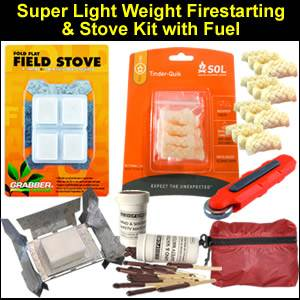 Super Light Weight Survival Fire Starting/Stove Kit: (LIGHTWEIGHTFIRE)