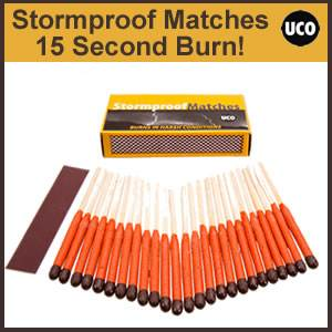 UCO Stormproof 15 Second Burn Matches, 25 qty (UCOmatch)