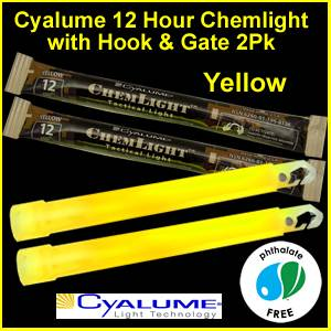 Cyalume 12 Hr Chemlight Glowstick, 2 Pack (9-01360)