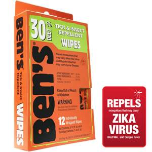 Bens 30  DEET Tick & Insect Repellent 12 Pc Wipes (0006-7085)