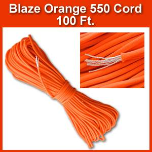 Blaze Orange 550 Parachute Cord, 100 ft. (pcord100orange)