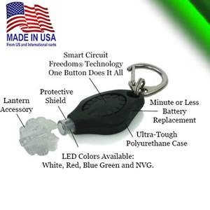 Photon Freedom® Plus  - Lantern - Flashlight-Safety Beacon - Green Lens (FPW -Green-hatclip-lanyard)