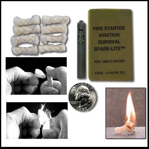 Spark Lite Fire Starter 8 Tinder Quik Tabs Military Survival Kit EDC BOB