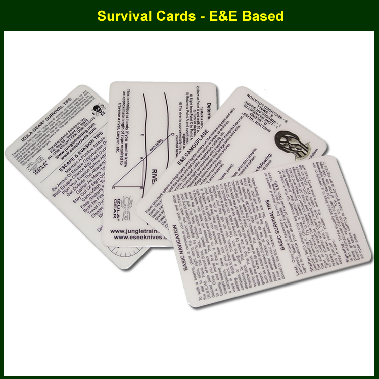 ESEE Lot de 4 IZULA Survival Tips /& instruction plastique Stock Carte Gear survcard
